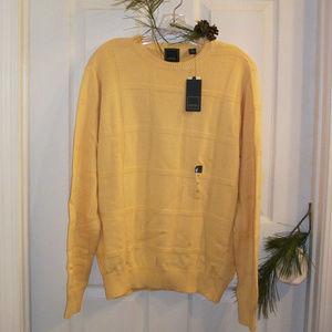 Arrow Men's Windowpane Sweater Yale Yellow NWT